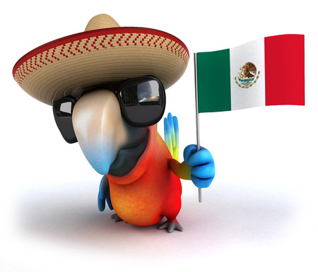 Parrot character with sombrero and shades holding an Italy flag Stock Photo