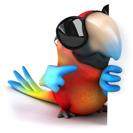 Parrot character with shades pointing