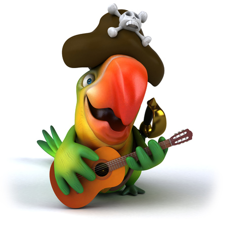 piracy: Pirate parrot character with guitar Stock Photo