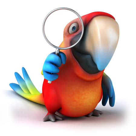 Parrot character looking into magnifying glass Stock Photo