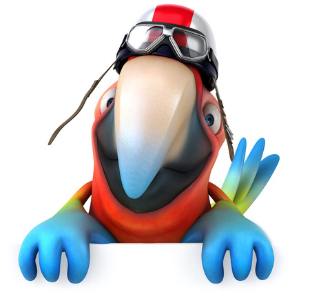 Parrot character with pilot helmet Stock Photo