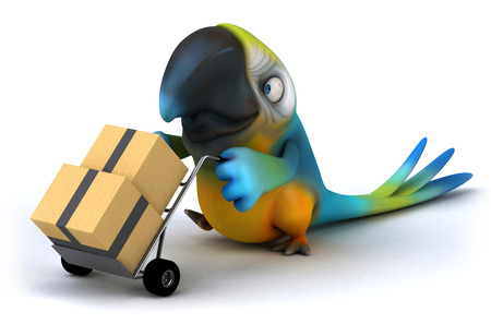Parrot character pushing a trolley with boxes