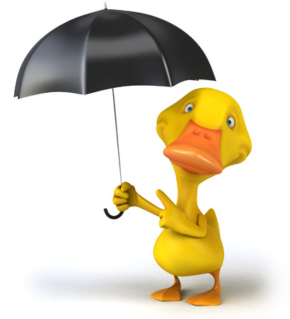 Duck character holding an umbrella Stock Photo