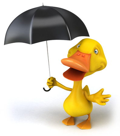 Duck character holding an umbrella Фото со стока