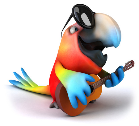 Parrot character with shades holding a guitar Stock Photo