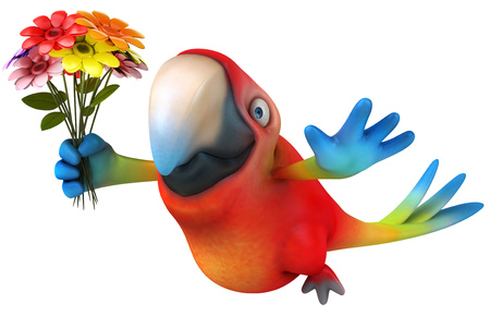 Parrot character holding a flower