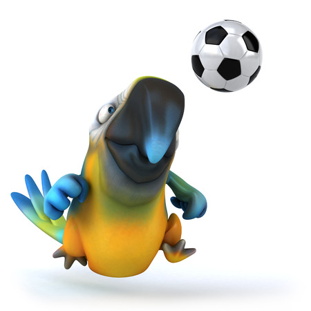 Parrot character with a soccer ball