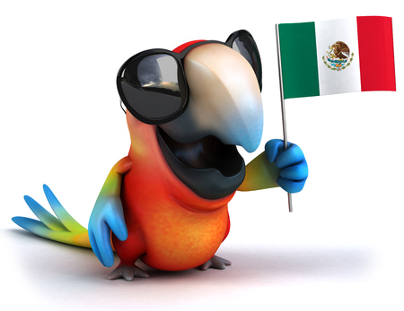 Parrot character with shades holding an Italy flag