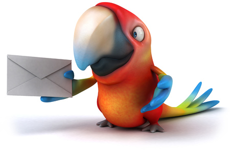 Parrot character holding a letter Stock fotó