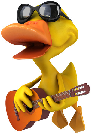 Duck character with shades playing a guitar