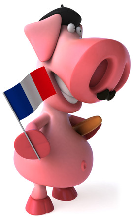 Pig character with baguette and France flag