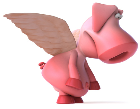 Pig character with wings