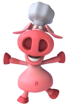 Pig character with chef hat Stock Photo