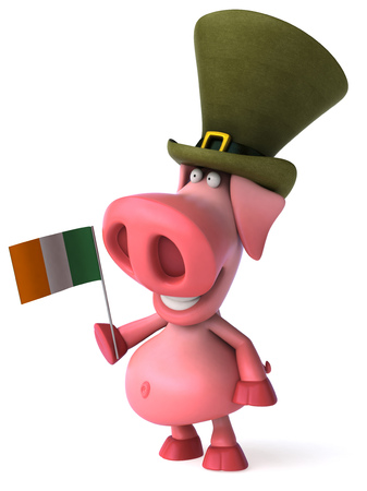 Pig character with Leprechaun hat holding a italy flag