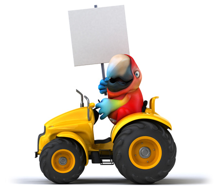 yellow tractors: Fun parrot