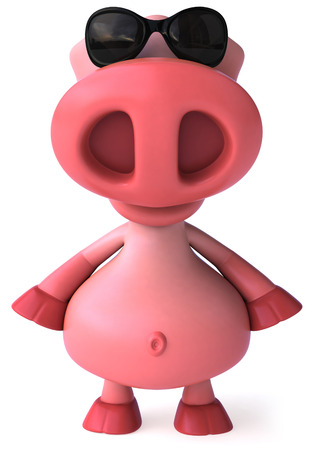 domesticated: Pig character with shades Stock Photo