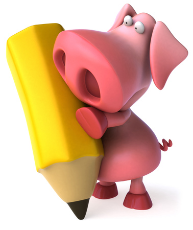 domesticated: Pig character holding a pencil Stock Photo