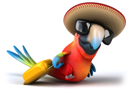 Parrot character going for a summer holiday