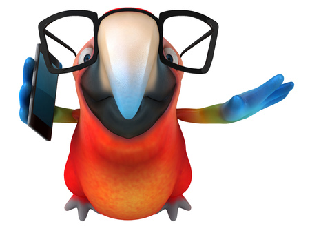Parrot character with spectacles using a phone Foto de archivo