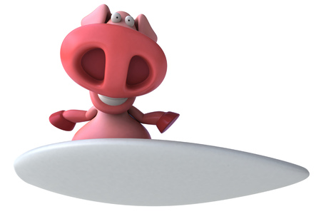 Pig character on surfboard Stock Photo