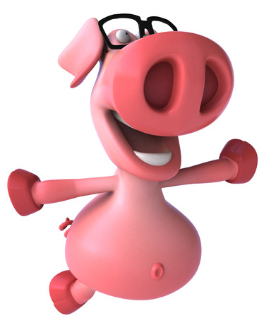 Pig character with spectacles