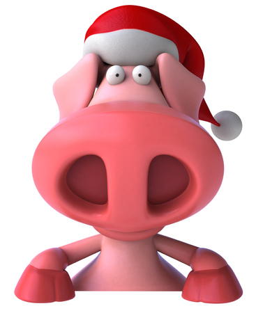 Pig character with santa hat Stock Photo
