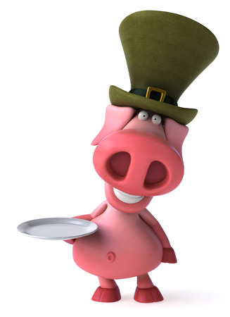 Pig character with leprechaun hat holding a plate