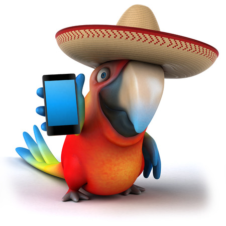 traje mexicano: Parrot character with sombrero holding a phone