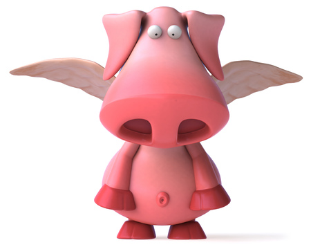domesticated: Pig character with wings