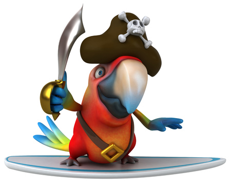 piracy: Pirate parrot character on a surfboard