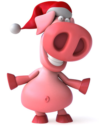 domesticated: Pig character with santa hat Stock Photo