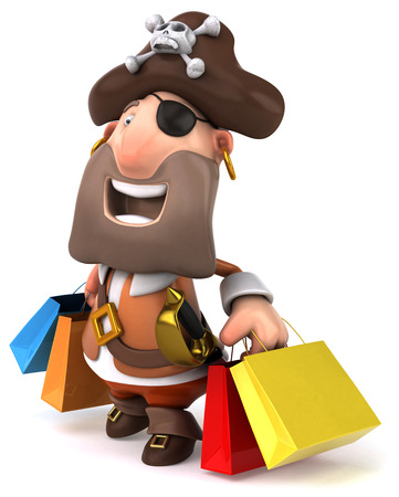 piracy: Pirate character carrying shopping bags