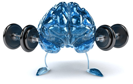 Brain character lifting weights
