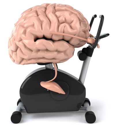 Brain character on an exercise bike Foto de archivo
