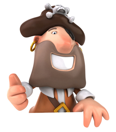 Cartoon pirate showing thumbs up gesture