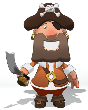Cartoon pirate with sword Stock Photo