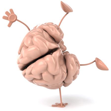 3D brain character doing handstand
