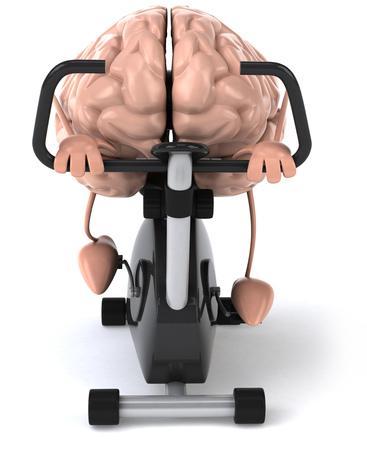 운동 자전거를 타고 3D 두뇌 캐릭터 스톡 콘텐츠