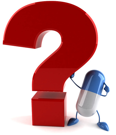 3D capsule character with a question mark Stock Photo