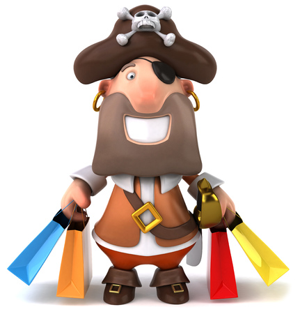 Cartoon pirate with shopping bags Stock Photo