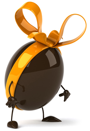 3D chocolate egg with ribbon feeling sad