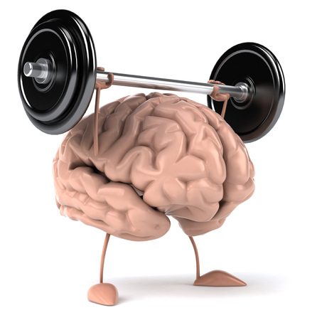 3D brain character lifting a barbell Stock fotó - 83923866