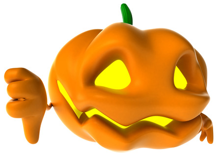 Cartoon pumpkin character showing thumbs down gesture Stock Photo