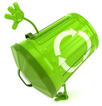 3D recycle bin character doing handstand