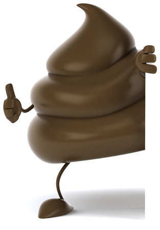3D poop character showing thumbs up gesture