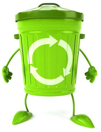 3D recycle bin character standing