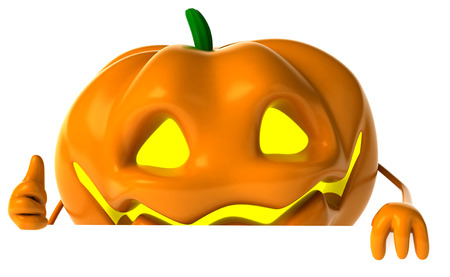 digitally generated image: Cartoon pumpkin character showing thumbs up gesture Stock Photo