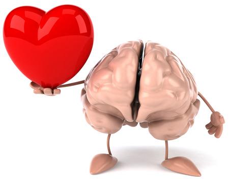 3D brain character holding a heart