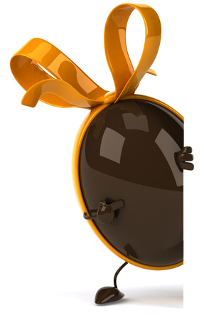 3D chocolate egg character with ribbon peeking and pointing