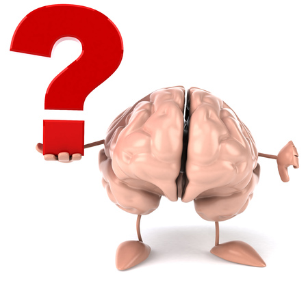 3D brain character with a question mark showing thumbs down gesture Stock Photo